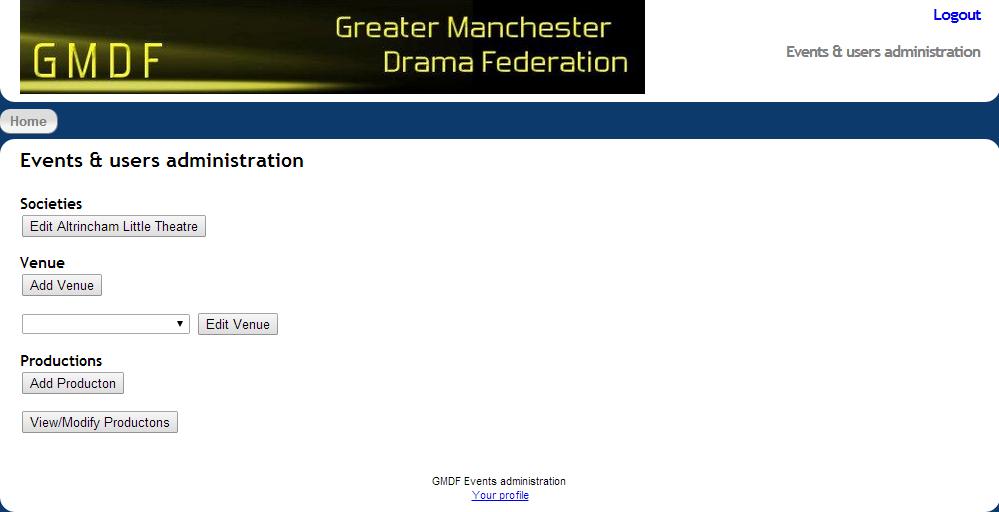 GMDF event main screen